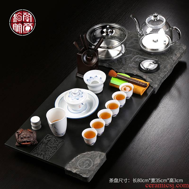Sharply stone tea sets tea tray was set induction cooker one large home six purple sand pottery and porcelain tea combination