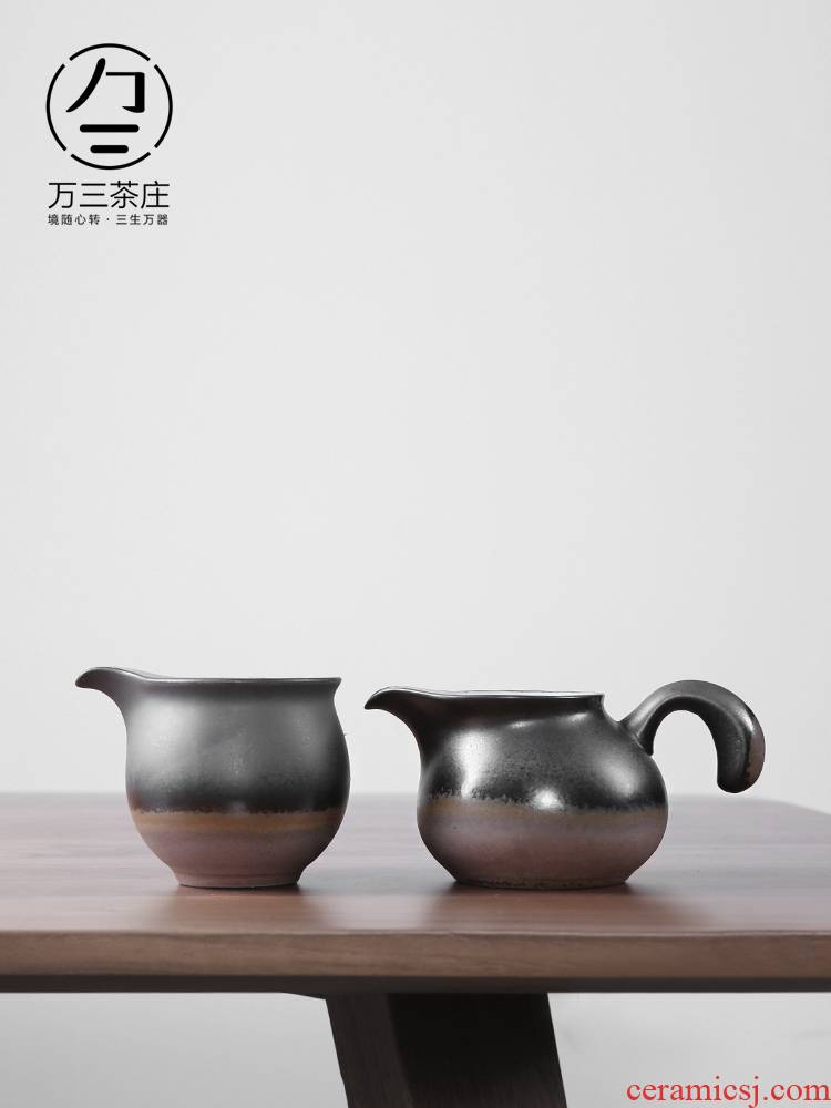 Three thousand tea checking ceramic fair keller of tea is more coarse pottery archaize kunfu tea cups)