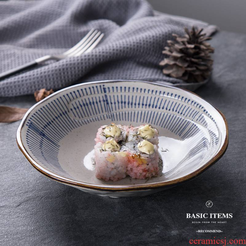 Japanese creative 8 inch ceramic shallow bowl of beef noodles in soup bowl of soup bowl of household utensils bowl of fruit salad bowl bowl dish bowl
