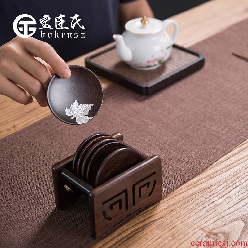 Treasure minister 's ebony wood tea cup mat cup tea kungfu combination of Japanese tea accessories