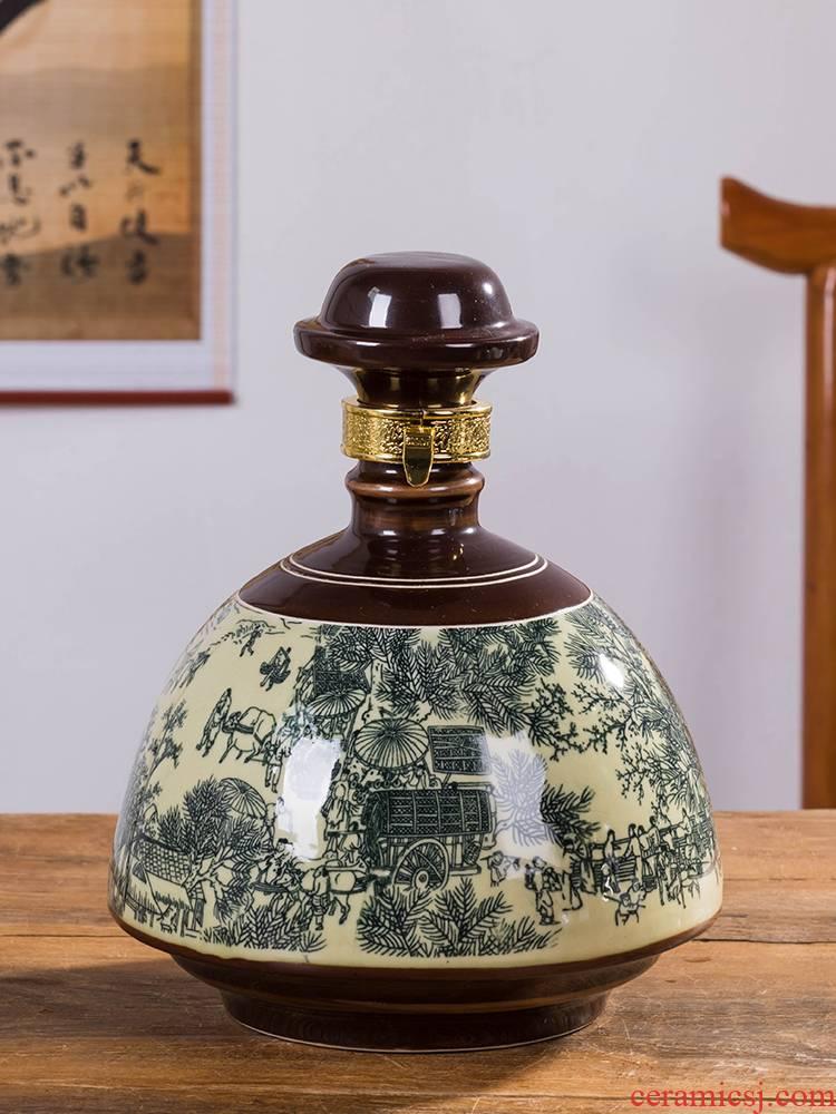Jingdezhen ceramic bottle is empty bottle home 1 catty 3 kg 5 jins of liquor sealing hip antique decoration small jar