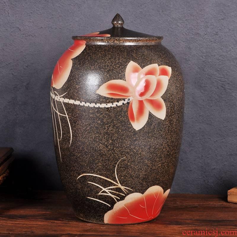 Jingdezhen ceramic barrel ricer box 50 kg pack household with cover cylinder storage rice jar of pickles flour water moisture