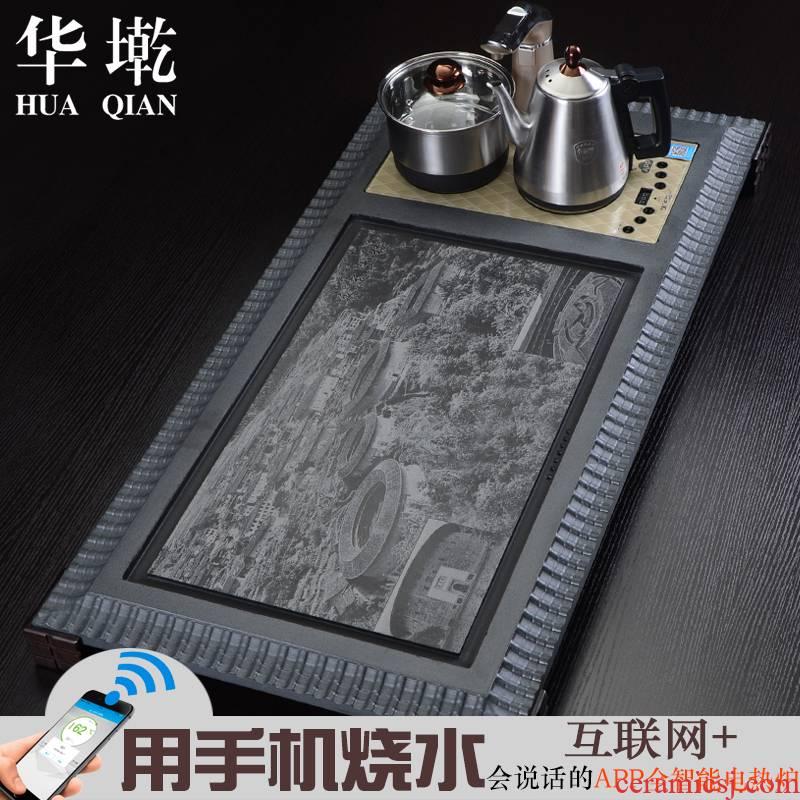 China Qian block sharply stone tea tray is a large natural stone tea table four unity kung fu tea tea