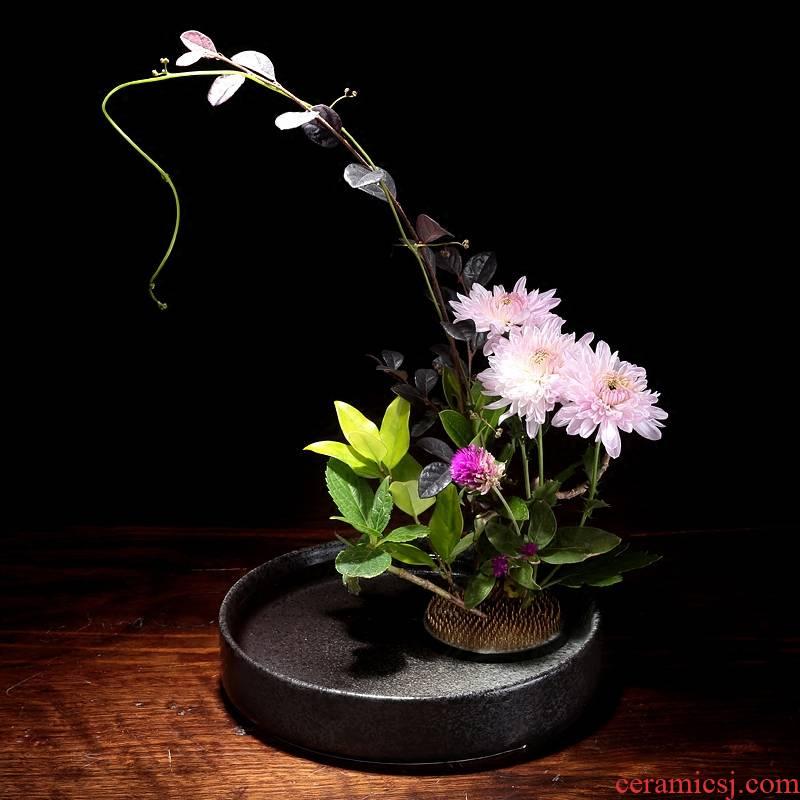 Flowerpot ceramic flower implement small flow flower arranging flowers zen mountain flower arranging plate of minimalist art flower pot creative Japanese sword
