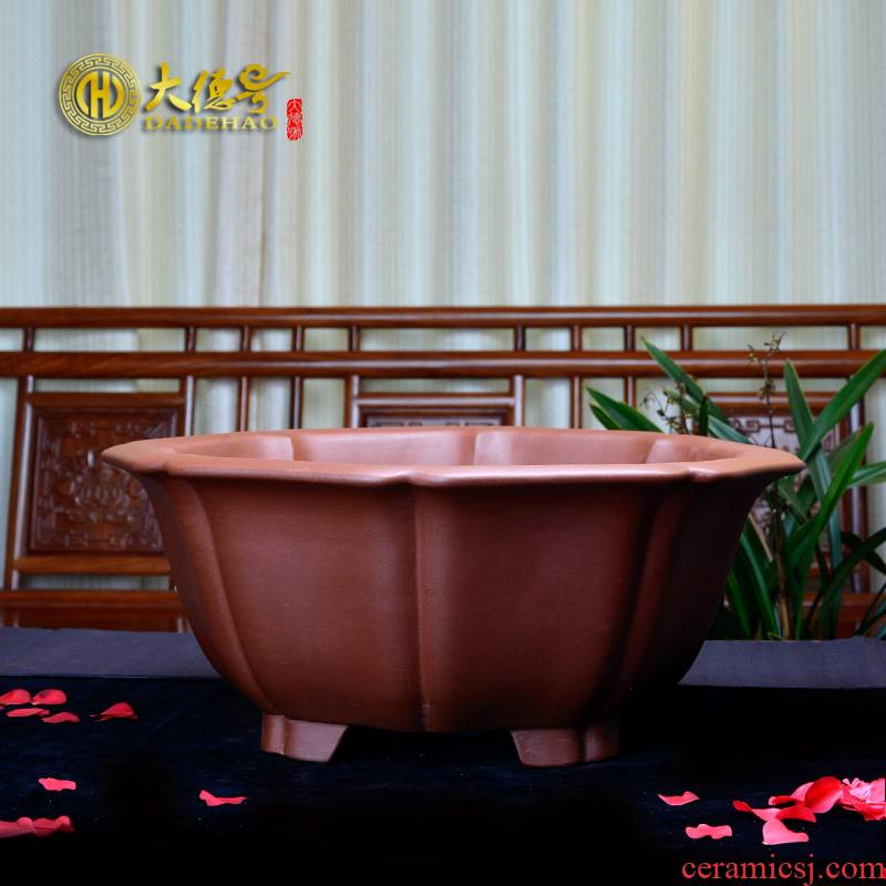Purple sand flowerpot diamond flower pot yixing exquisite bonsai pot stump green plant the qing cement big bag mail across indicates the country