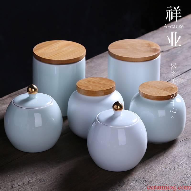Auspicious industry shadow celadon ceramic POTS awake bamboo caddy fixings seal piggy bank black tea tea pot