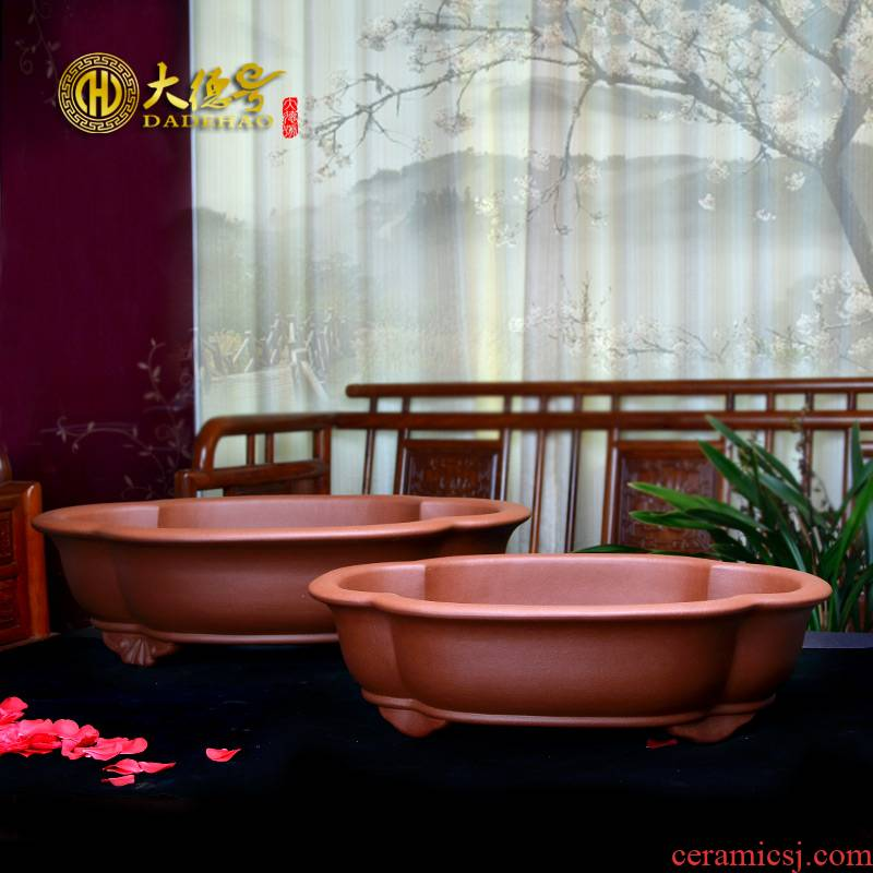 Purple sand flowerpot yixing exquisite bonsai pot flowers, green plant size size cement bag mail clearly