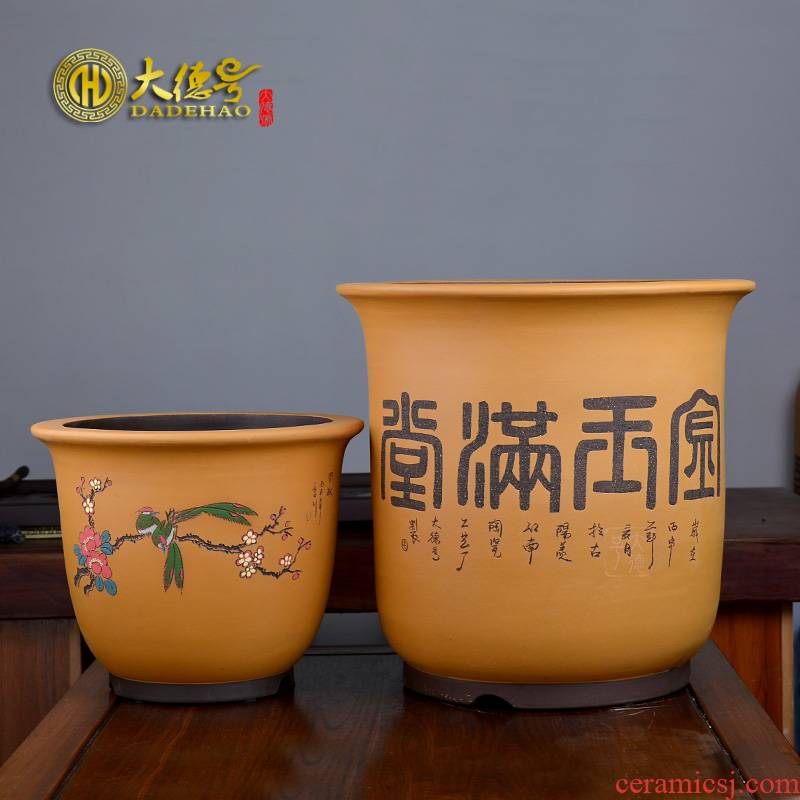 Yixing purple sand flowerpot high - quality goods even carved painting size round bonsai pot green plant orchid POTS of prosperity