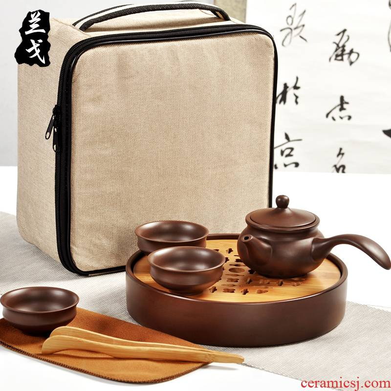Having a complete set of portable travel old purple clay teapot dry yixing purple sand tea set kung fu tea tray cups