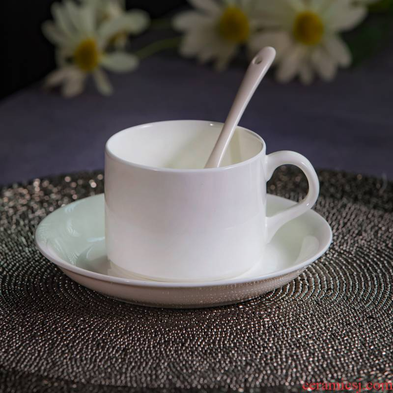 Jingdezhen ceramic contracted coffee cup dish suits for office, conference room, pure white coffee cup custom logo