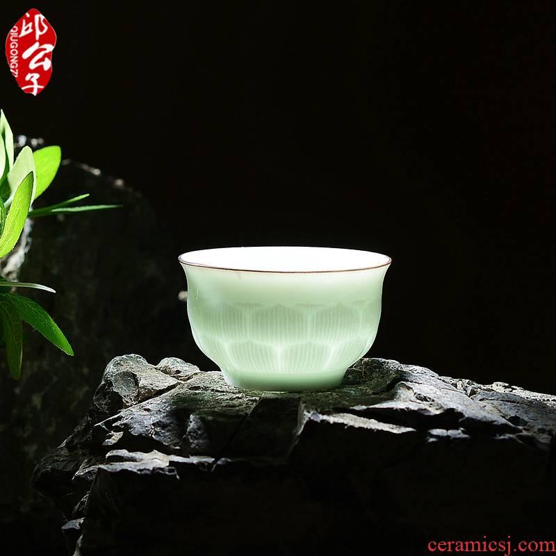 Qiu time high tea set shadow celadon through lotus kunfu tea cup tea master single glass ceramic tea cups of tea