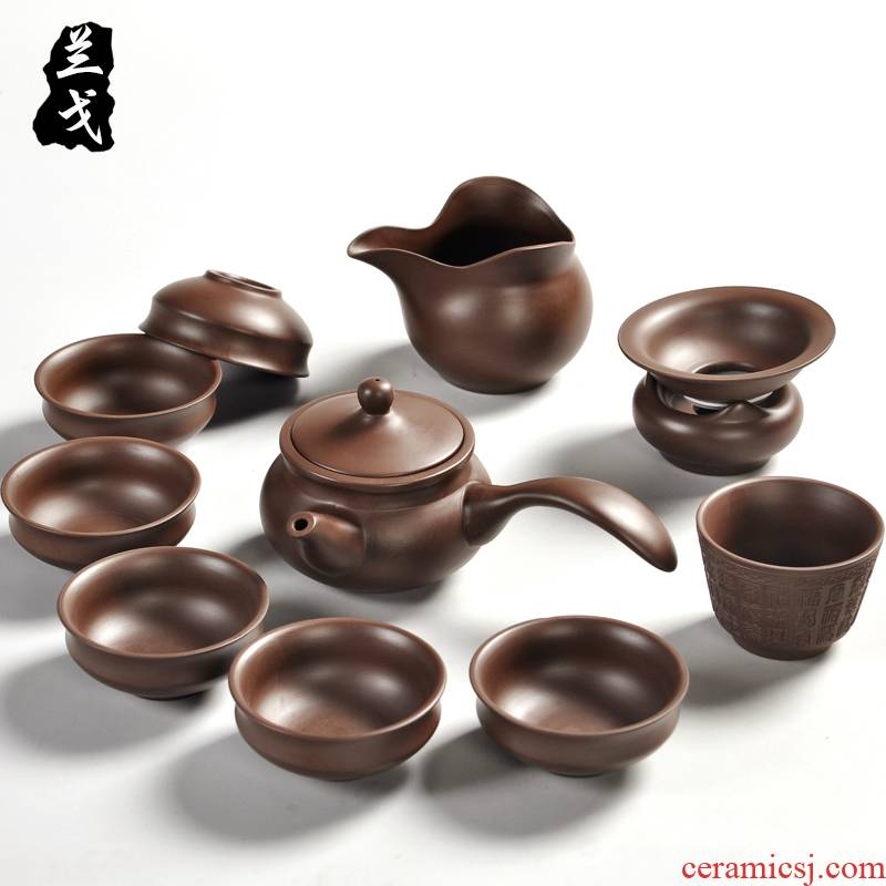 Having a complete set of yixing purple sand tea set undressed ore kung fu tea cups manual old purple clay teapot gift boxes