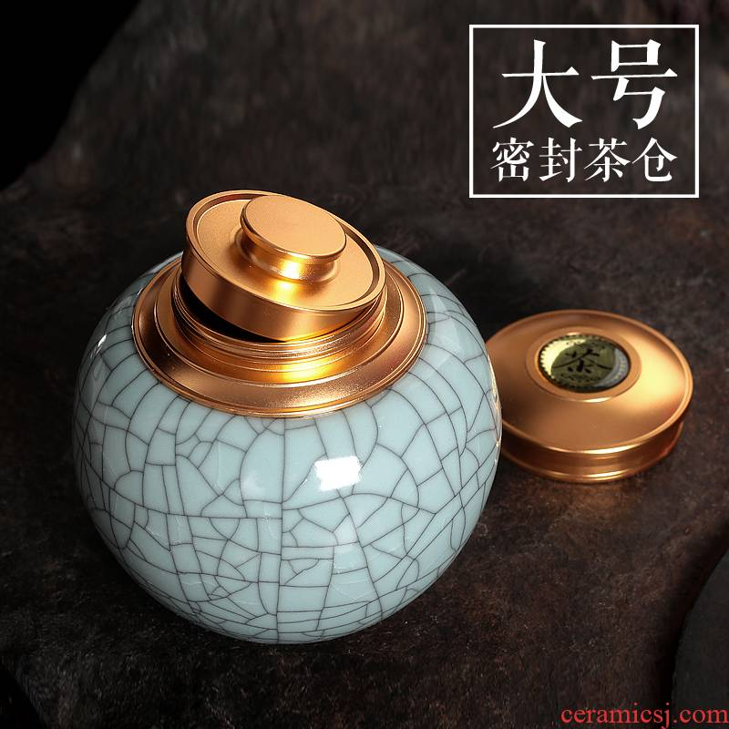 Tea pu 'er Tea as cans ceramic metal portable household longquan celadon seal large caddy fixings ceramic pot