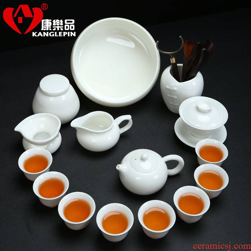 Recreational taste traditional kung fu tea set suit white porcelain teapot teacup ceramic GaiWanCha the whole household