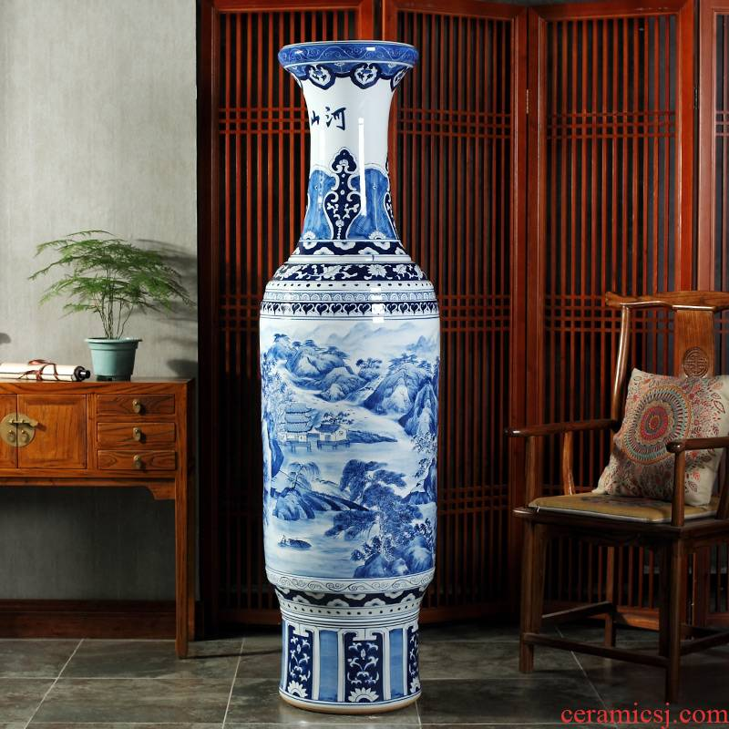 Jingdezhen blue and white landscape of large ceramic hand - made vases hall hotel opening gifts sitting room adornment is placed