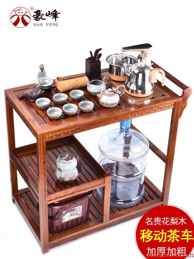 HaoFeng purple sand tea set of a complete set of domestic mobile wheeled mobile, hua limu tea sets tea tea tea table