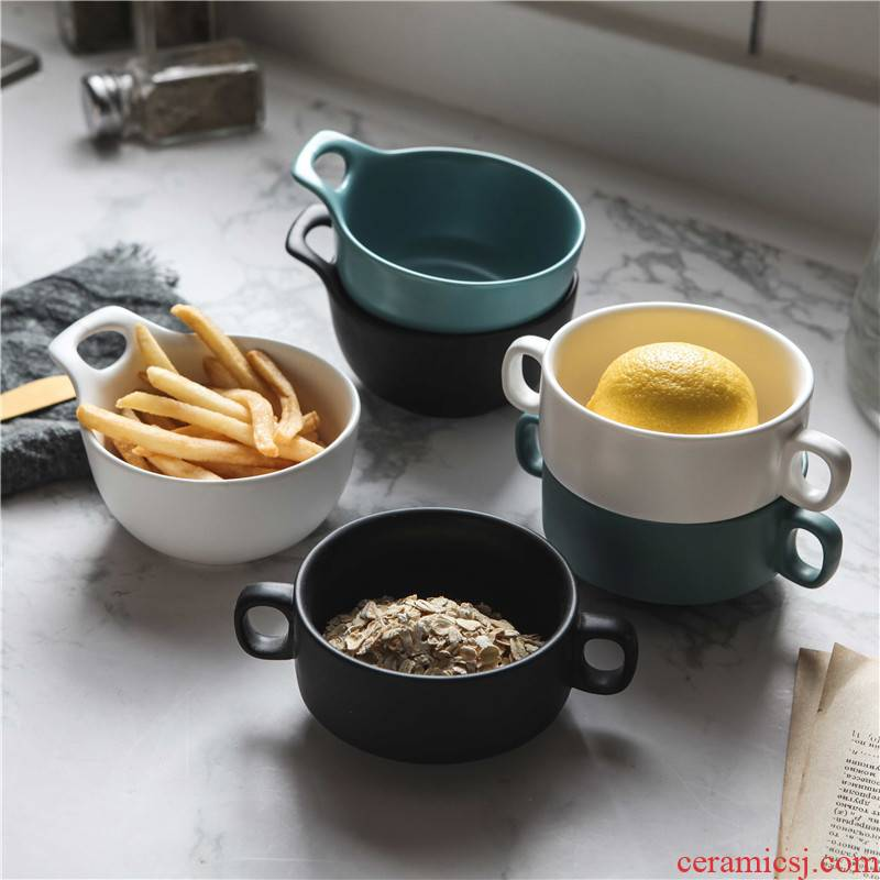 Creative Nordic contracted matte enrolled porcelain steamed egg bowl of soup cup ears porringer breakfast home western dessert soup bowl