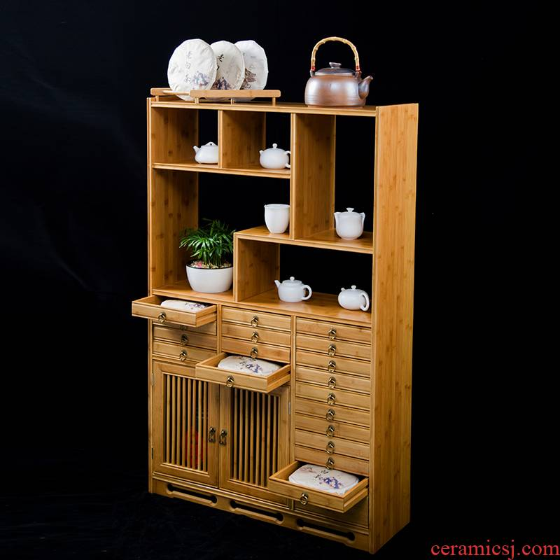 Hong bo acura pu 'er tea storage tank multilayer drawer ark of solid wood cabinets sect tea cake sect tea storage tank