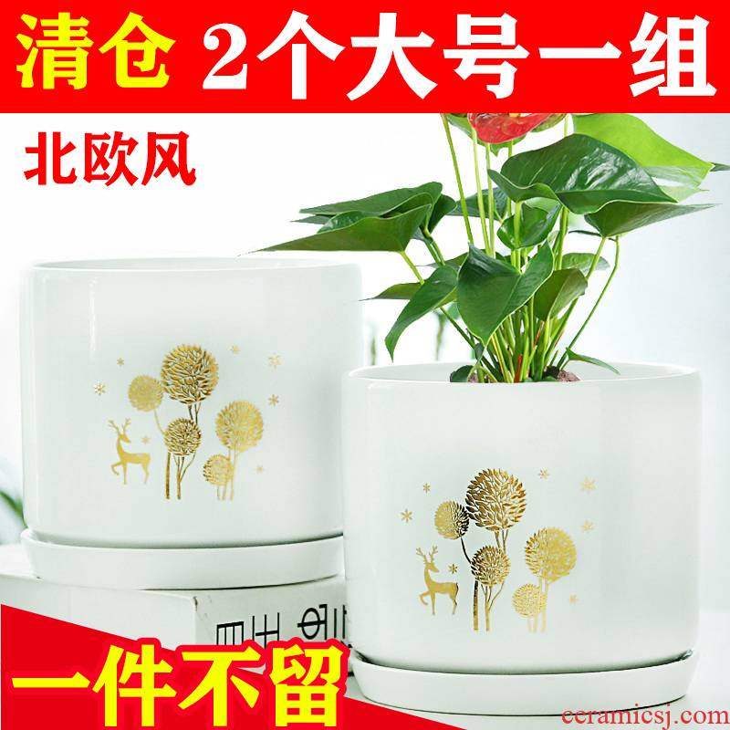 Flowerpot ceramics in northern wind large number contracted household money plant bracketplant fleshy white big tray specials