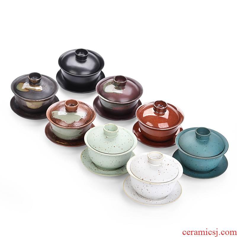 Chai up becomes large tureen kung fu tea tea cup ceramic bowl firewood three cups of household kung fu tea set