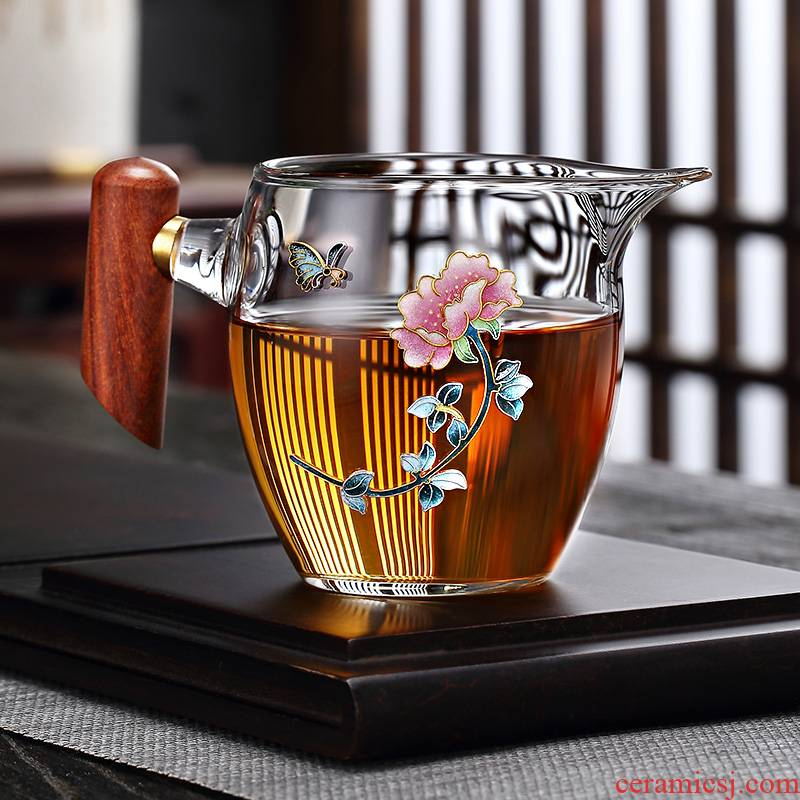 Morning high thickening high - temperature silver wood handle glass fair keller cloisonne kung fu tea tea set points, and a cup of high - grade