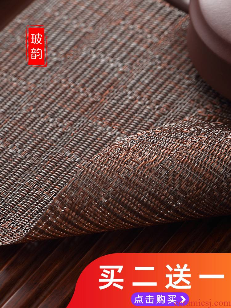 Bo yun tea mat kung fu tea accessories tea leaves in hot tea mat bamboo tea tray every.net waterproof bamboo tea