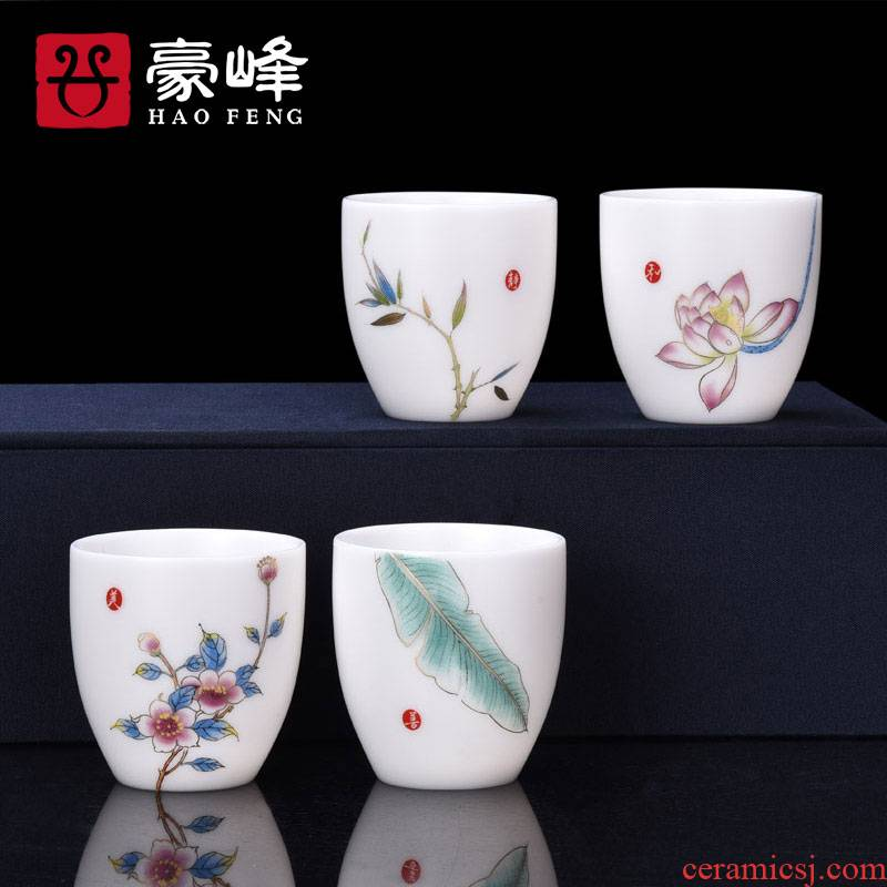 HaoFeng ceramic household dehua white porcelain cup ore suet jade porcelain office home master single CPU
