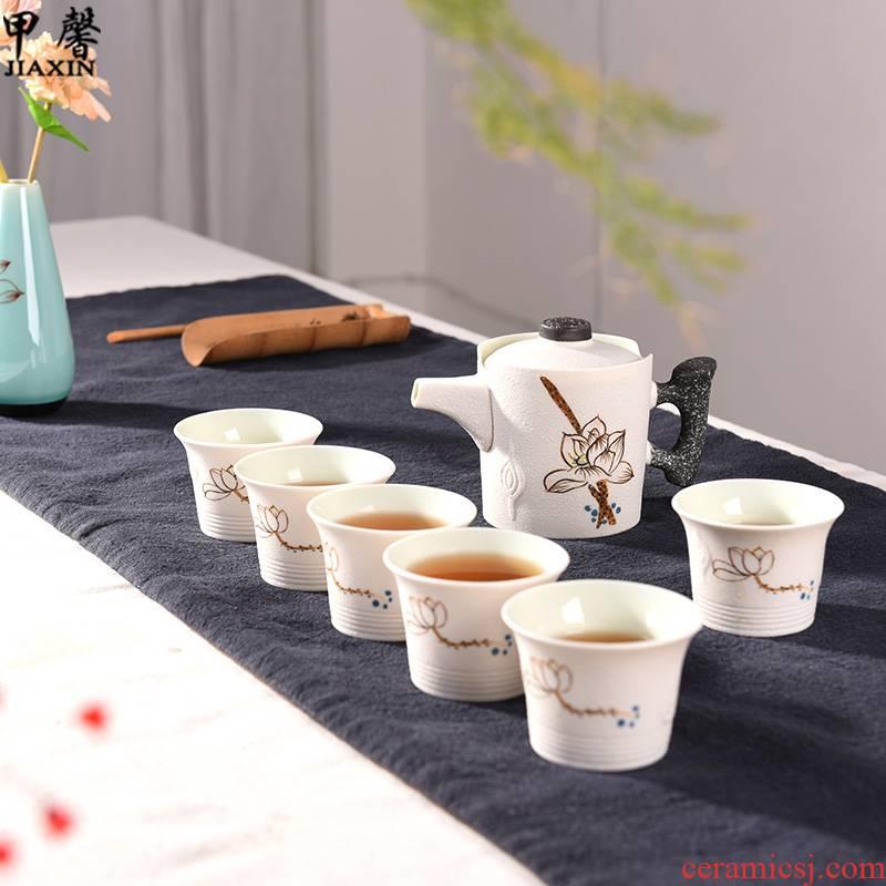 JiaXin snowflakes glaze a pot of six cups of tea lotus