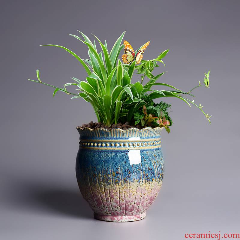 Creative special ceramic butterfly orchid flower POTS through pockets pottery basin of meaty plant a new mage old running the orchid pot