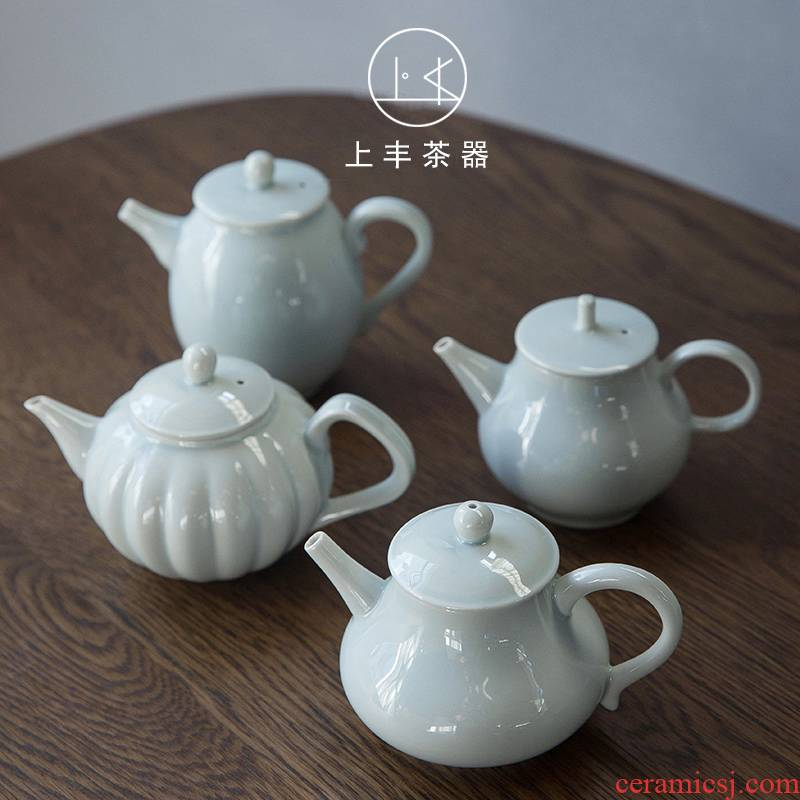 An Abundant ceramic teapot on small single pot of Japanese contracted household dehua ceramic celadon kung fu tea set gift move