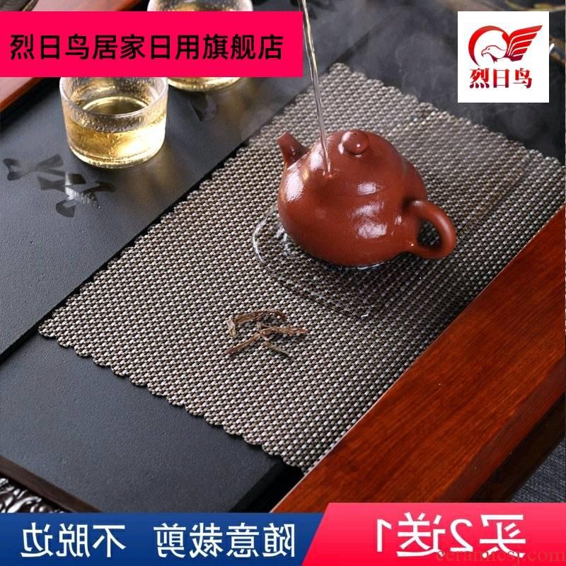 Tea tray was lie between tealeaf Tea tray mat mat Tea Tea Tea table as fiber net mat mat bamboo Tea accessories