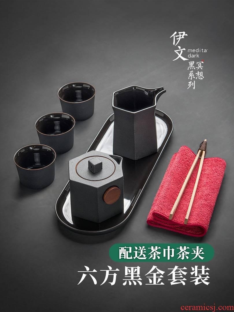 Evan ceramic kung fu tea sets creative teapot teacup contracted tea tray of a complete set of Japanese tea fair keller
