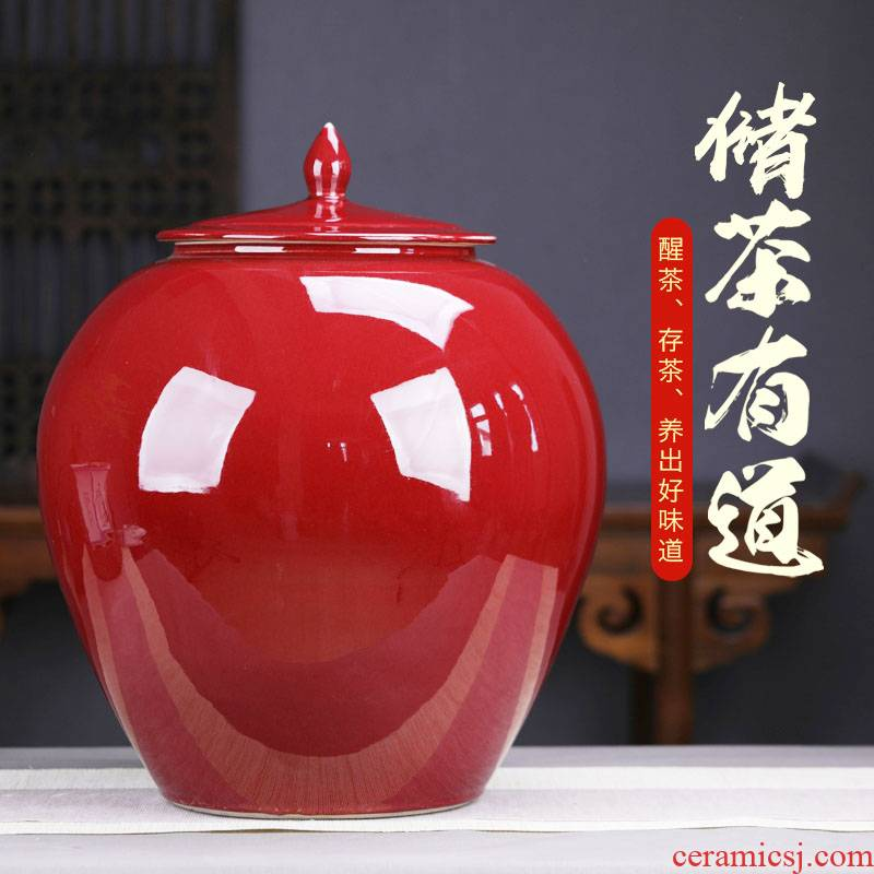Vintage ruby red ceramic tea pot large puer tea pot super 50 pieces to heavy tea cake store seal pot tea urn