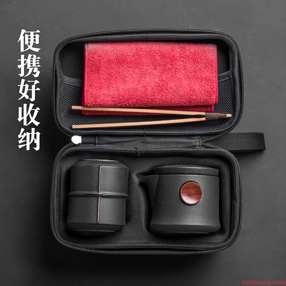 Evan ceramic kung fu tea set Japanese contracted portable tea crack set a pot of three is suing travel