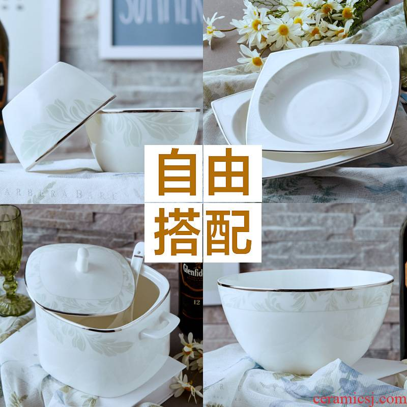 Garland microwave bowl bowl rainbow such as bowl, square bowl of soup bowl of rice bowl bowls of ipads ceramic tableware free collocation