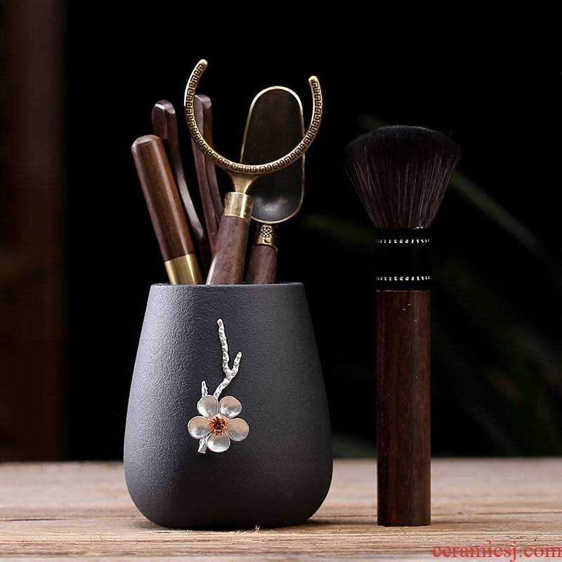 JiaXin ebony wood tea six 6 gentleman 's gentleman' s suit tea tea tin, kung fu tea accessories ChaGa tea spoon