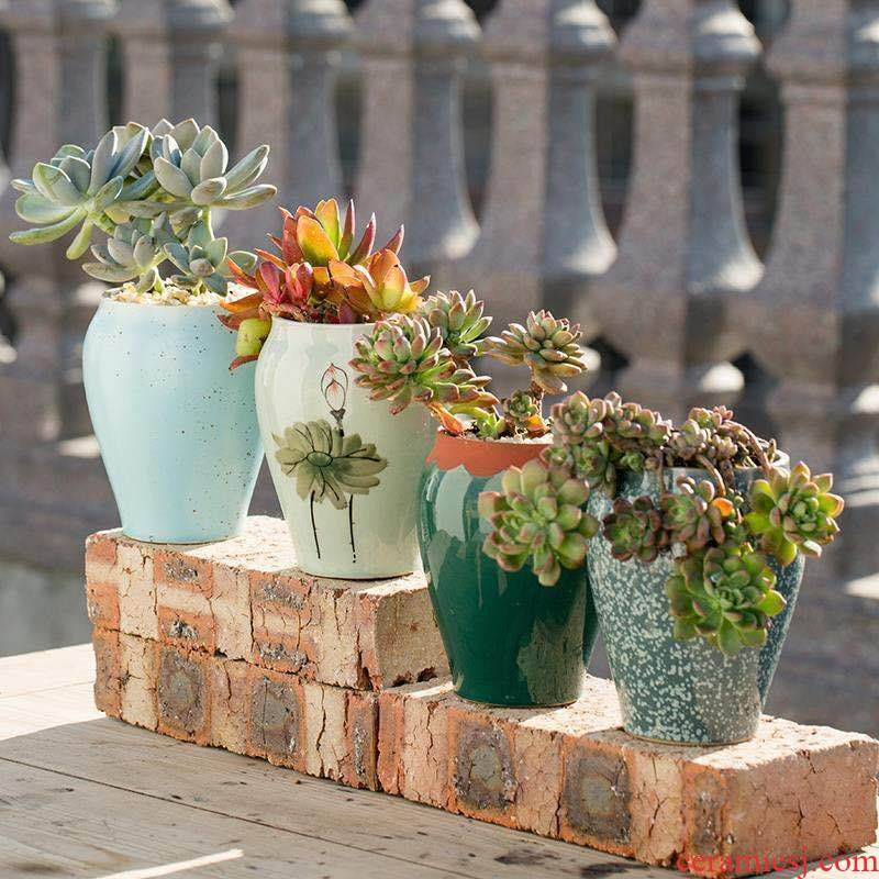 The Fleshy old large special offer a clearance of large - diameter running the flowerpot ceramics creative move coarse pottery breathable flesh POTS of the plants