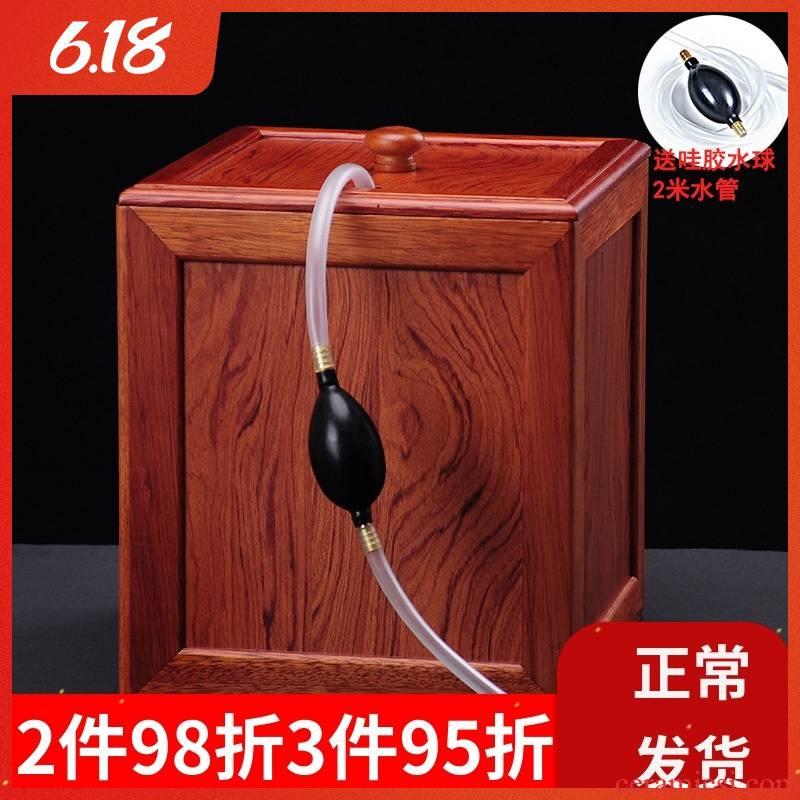 Spend pear wood tea set detong tea accessories quadrate tea barrel bin tea leaf - barrel drainage detong tea tray