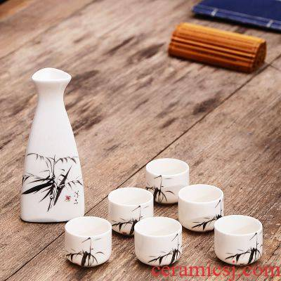 Ancient drinking cup small antique glass lamp that Chinese antique old wind a small handleless wine cup hip ceramic packages