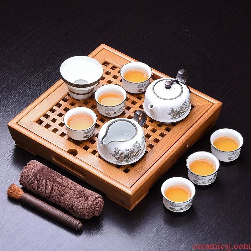 The Home of a complete set of Japanese simple pu 'er tea tea tea tray was sea terms ceramic teapot kung fu tea set
