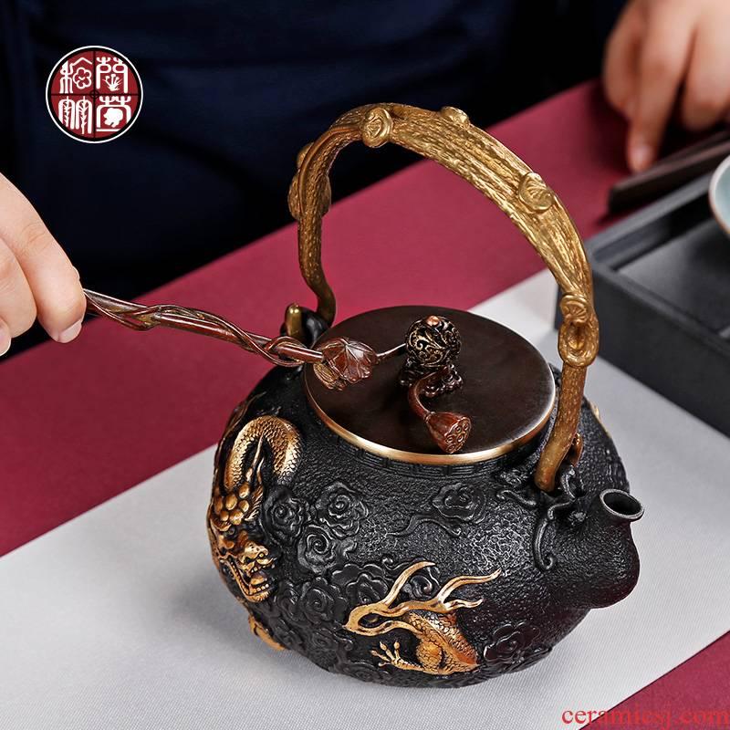 By patterns cast iron lotus iron pot pot of fork pot clip decorative zen tea tea sets of restoring ancient ways furnishing articles lid