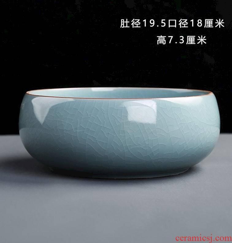 Wash the Japanese zen tea water jar housewares accessories large tea cups writing brush washer from purple ceramic Wash basin