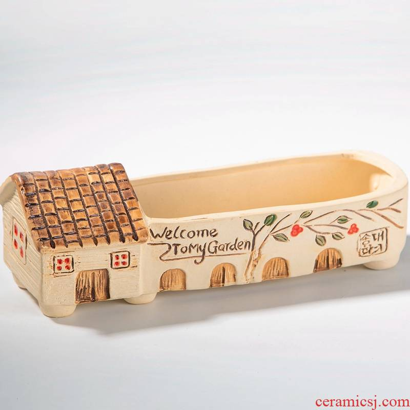 Ideas is hand - made large caliber rectangle rounded fleshy flowerpot platter ceramic wholesale special offer a clearance