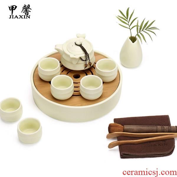 JiaXin up ceramic kung fu tea tea set rings tea tray dried bamboo mercifully tea set tea service