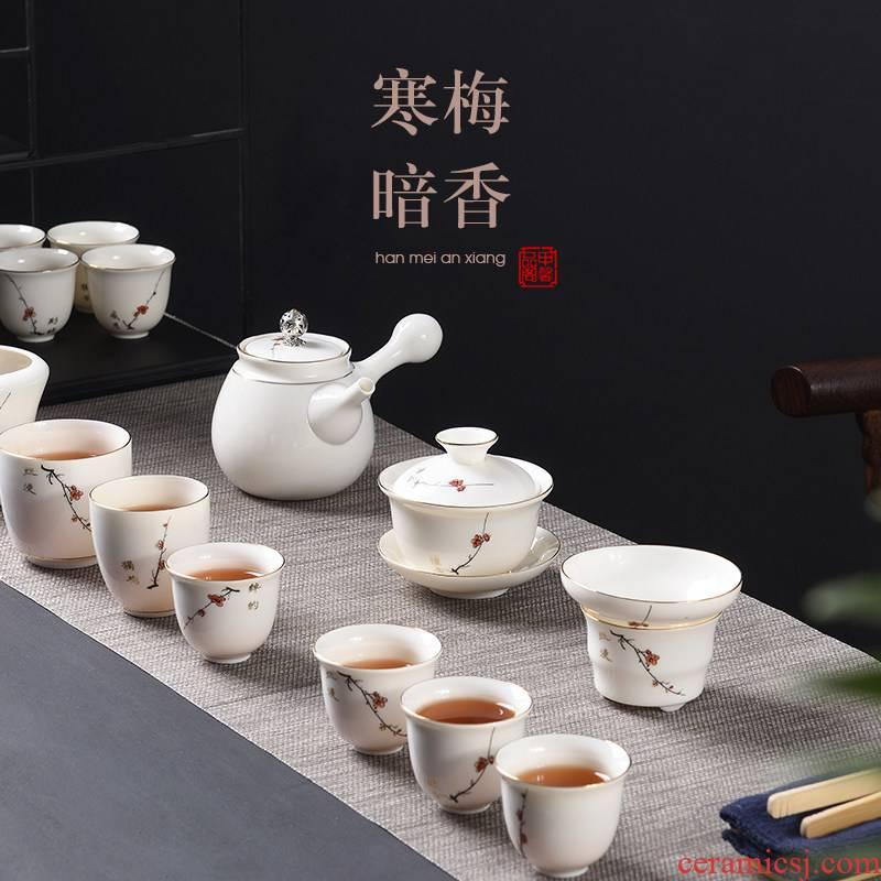 JiaXin dehua white porcelain kung fu tea teapot tea cups home office of a complete set of tea sets