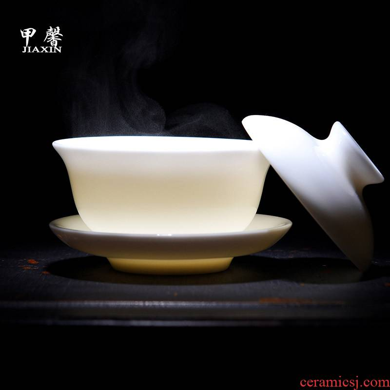 JiaXin dehua white porcelain only three tureen large ceramic tea cup kung fu tea bowl medium cup tea accessories