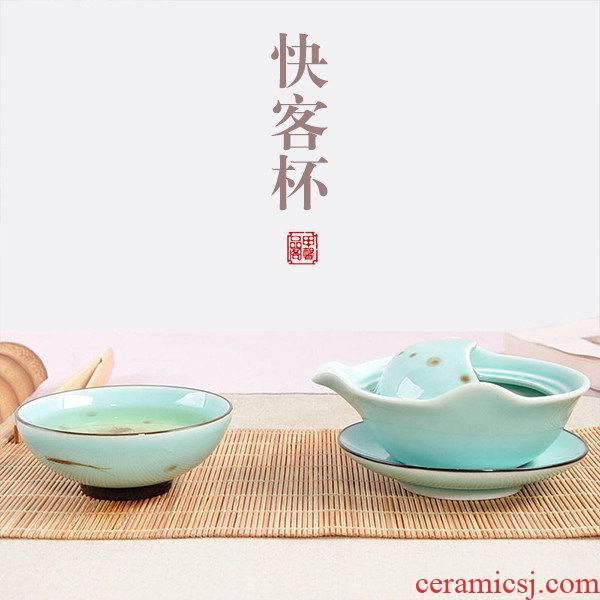 JiaXin hand - made celadon crack cup a pot of a Japanese work travel ceramic kung fu tea set