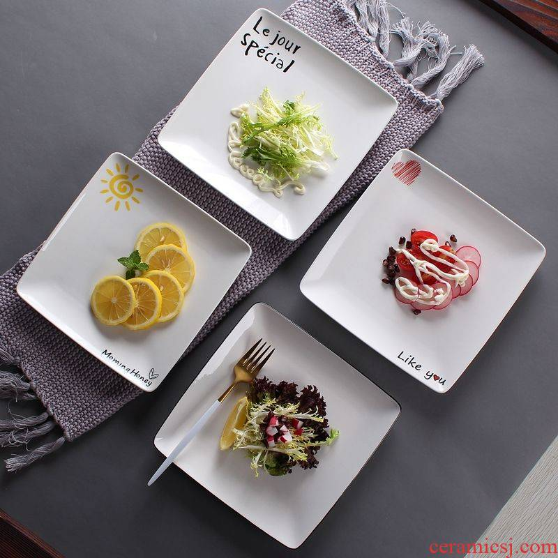 Steak plate household creative Nordic ceramic plate, lovely dishes breakfast tray square plate flat western dishes