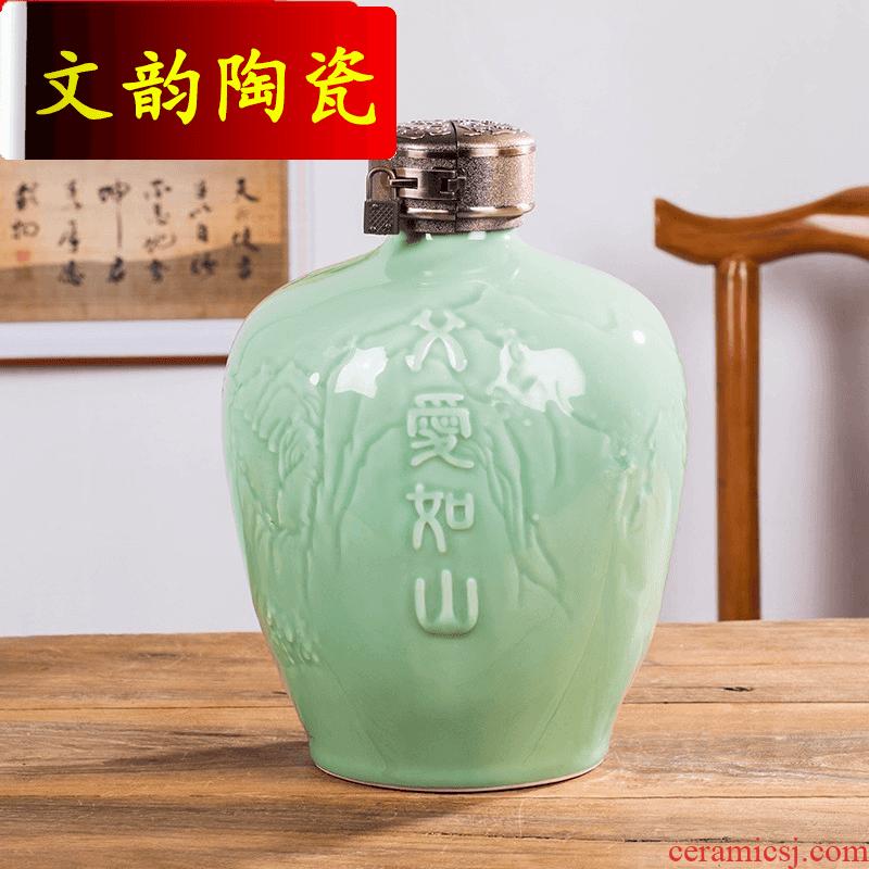 Wen rhyme ceramic bottle 3 kg 5 jins of empty bottles of jingdezhen domestic liquor jar sealing decorative furnishing articles
