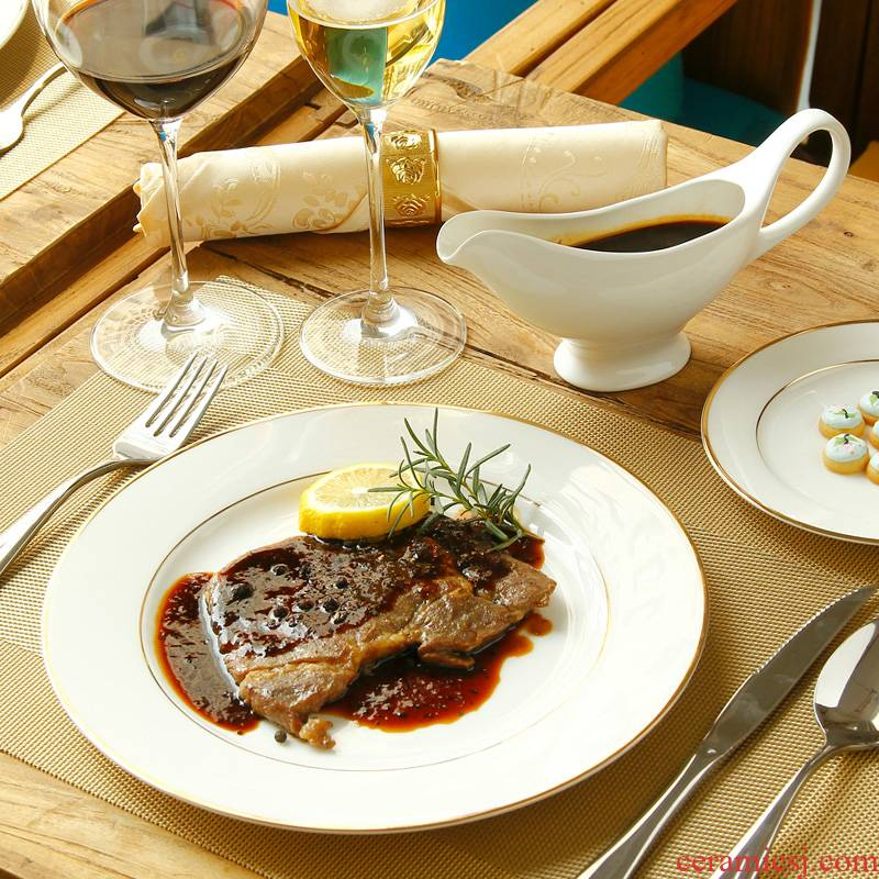 Western food square steak knife and fork bread plate plate plate suit European tableware ceramic disc flat pasta dish in up phnom penh
